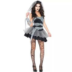 Vampire Zombie Cosplay Black Ghost Bride Costumes Witch Princess Mesh Dress and Head Wear Set Halloween Costumes For Women 2016