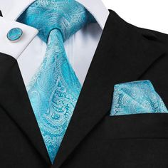 Hi-Tie Brand Silk Neckties For Men Paisley Pattern Jacquard Woven Ties Pocket Square Cufflinks Set For Wedding Party Tie And Pocket Square, Pocket Squares, Paisley Tie, Paisley Pattern, Cufflink Set, Mens Silk Ties, Wedding Ties, Tie Set, Aqua Blue