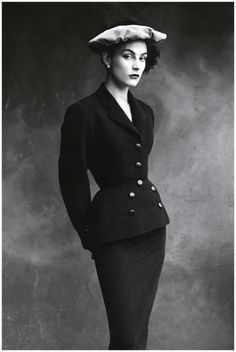 Photo Irving Penn -Balenciaga's favorite model, Colette, in a suit from 1950 Vogue-Conde Nast Publications inc 1950