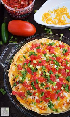 Refried beans and seasoned ground beef sandwiched between 2 large flour tortillas is topped with shredded cheese and fresh vegetables. Taco Pie Recipes, New Recipes, Gourmet Recipes, Cooking Recipes, Healthy Recipes, Favorite Recipes, Side Recipes, Quick Recipes, Healthy Nutrition