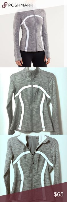 Lululemon Define Jacket - EUC! Lululemon Define Jacket in Wee Stripe and Heather Gray.  Only worn a couple of times so it is in excellent condition with barely signs of wear.   NOTE:  Last photo shows a small faint stain on the collar and light pilling on the collar but barely noticeable unless you look very, very closely.   Details: sweat-wicking four-way stretch cottony-soft handfeel quick recovery naturally breathable Added LYCRA® fibre for great shape retention stretch great shape…