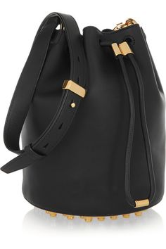 Black leather (Calf) Drawstring top Comes with dust bag Weighs approximately 3.7lbs/ 1.7kg Imported