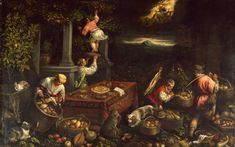 Leandro Bassano (Leandro dal Ponte), 1557-1622, Italian, Allegory of the Element Earth, c.1580. Oil on canvas, 148 x 234.2 cm.  Walters Art Museum, Baltimore.  Mannerism.