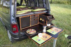 18 Slidepods VW Camper Kitchen – Holiday and camping ideas Minivan Camping, Auto Camping, Camping Diy, Camping Gear, Vw Camper, Mini Camper, Camper Life, Campervan Hire, Campervan Interior