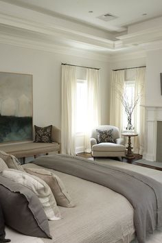 nice Gray Linen Bedding - Transitional - bedroom - Lillian August by - Home Decor Dream Bedroom, Home Bedroom, Master Bedroom, Bedroom Decor, Design Bedroom, Bedroom Furniture, 1920s Bedroom, Taupe Bedroom, Peaceful Bedroom