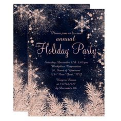 rose gold blue snowflake winter corporate holiday invitation