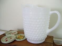 Vintage Hobnail Milk Glass Pitcher And Metal Floral Coaster Set - Cottage Country Living