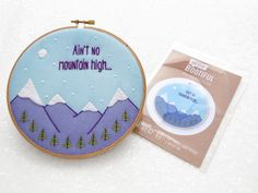 Embroidery Fabric Pattern, Modern Hoop Art, Winter Craft Kit, Hygge Living Project, Beginners Hoop Art, Easy Needlecraft Set, Mindful Crafts