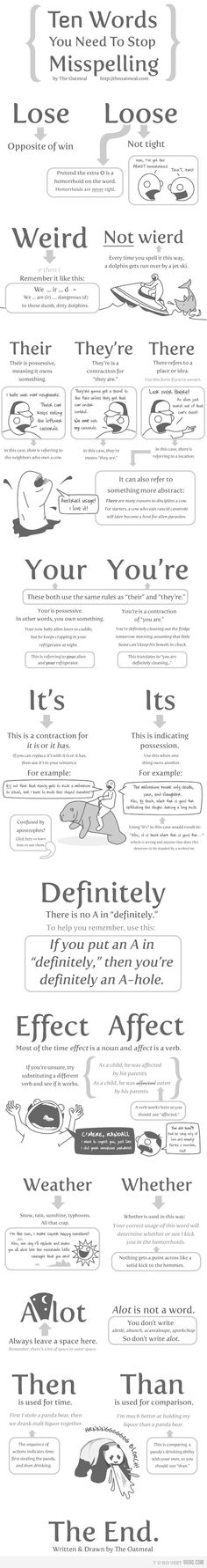 10 Words You Need To Stop Misspelling --- Ok, it's not like I could post something from The Oatmeal in my classroom. Not exactly appropriate for 7th-grade parents (the students would be fine, I'm sure). But this tip on A LOT is priceless!!! I am making a poster of just that.