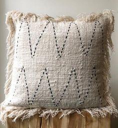 Organic cream neutral colour cushion with black stitching & fringe 40 x Australia cushions Home Decor Cushion Cover Designs, Sofa Cushion Covers, Pillow Covers, Cushion Pillow, Pillow Set, Boho Cushions, Diy Pillows, Throw Pillows, Silk Pillow