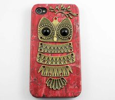 Owl with Brass Branch Hard Case Cover for iPhone 4 by ansmallhope, $8.99