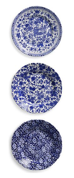 Ralph Lauren Home blue and white tabletop: Regal Peacock, Arden and Calico Salad Plates