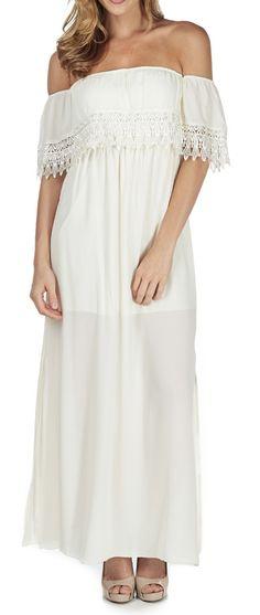 Ivory Crochet Off-Shoulder Strapless Maxi Dress