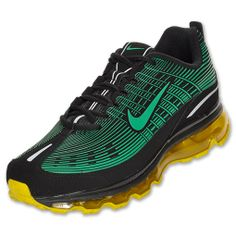 Nike Air Max 2006 Leather Men's Running Shoes | FinishLine.com | Black/Yellow/Silver/Stadium Green