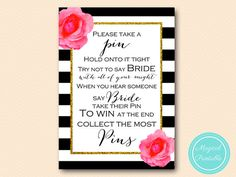 Don't say bride clothespin game Black Stripes by MagicalPrintable