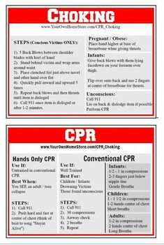 Learn the basics of CPR and Choking first aid. Then print out cards to help you remember what you learned when you need it. Learn the basics of CPR and Choking first aid. Then print out cards to help you remember what you learned when you need it. Choking First Aid, First Aid Cpr, Survival Prepping, Emergency Preparedness, Survival Skills, Survival Gear, Survival Hacks, Survival Supplies, Survival Equipment