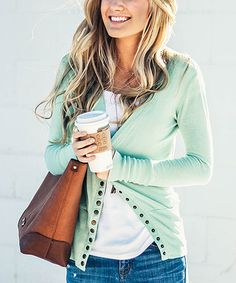 9ebe11b8ad Another great find on  zulily! Light Mint Snap Cardigan  zulilyfinds Mint  Cardigan