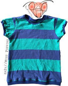 """""""eaSy""""-Shirt von Miss Poppins in Gr. 98/104 aus einem alten T-Shirt und klassischen Bündchen. Link zum Ebook auf der Pinnwand """"Patterns I used/benutzte Schnittmuster"""""""