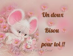 Un doux bisou pour toi !! #bisous souris mignon fleurs Eckhart Tolle Meditation, Bisous Gif, Pretty Images, Etiquette, Congratulations, Messages, Make It Yourself, Gifts, Minions