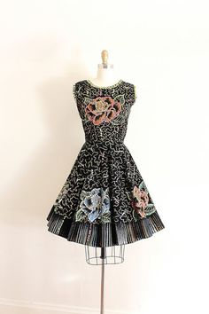 Vintage Hand Painted Mexican Rockabilly dress c. 1950s