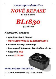Novinka - repase Li-Ion baterií BL1830 je nově možná a to i u baterií, které vykazují v nabíječce chybu
