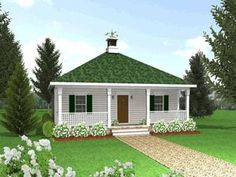 Cottage , Country House Plan 64555 with 2 Beds, 1 Baths Elevation Cottage House Designs, Cottage Style House Plans, Cottage Style Homes, Cottage Design, Small House Plans, House Floor Plans, Style Français, Country Style, Coastal House Plans