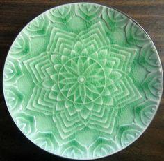 Celadon crackle glaze medallion plate