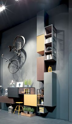 Fimar presents the new Rebel System: modern wall units, walk-in closets and bedin Industrial design Wall Design, House Design, Modern Wall Units, Diy Home Decor Rustic, Italian Furniture, Cabinet Design, Office Interiors, Shelving, Furniture Design