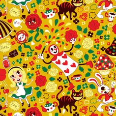A fabric design with the famous characters from Lewis Carol's Alice in Wonderland. See the other fabrics of the collection: