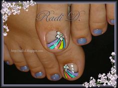 Nail art from the NAILS Magazine Nail Art Gallery, hand-painted, Flower Pedicure, Pedicure Nail Art, Toe Nail Art, Love Nails, Pretty Nails, Fun Nails, Cute Nail Polish, French Acrylic Nails, Toe Nail Designs