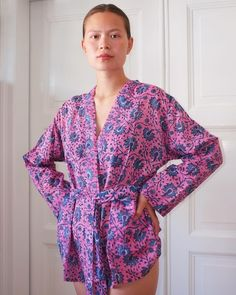 Kimono Jacket, Floral Kimono, Sustainable Clothing, Tights, Rompers, Pink, Cotton, How To Wear, Jackets