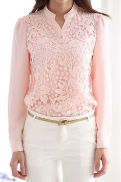 Refreshing Stand Collar Pink Lace Splicing Chiffon Long Sleeve Blouse For WomenBlouses | RoseGal.com