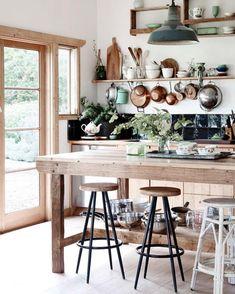 wood, black, white, teal + copper