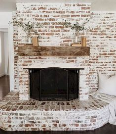 6 Stunning Useful Ideas: Fireplace And Tv Wire farmhouse fireplace design.Concrete Fireplace And Tv fixer upper fireplace doors.Wood And Slate Fireplace. Rustic Fireplaces, Farmhouse Fireplace, Rustic Farmhouse, Farmhouse Style, White Wash Brick Fireplace, Fireplace Whitewash, White Wash Brick Exterior, Painted Brick Fireplaces, Country Fireplace