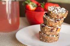 No Bake Granola Cakes by Healthful Pursuit  OMG -These are so easy to make and are delicious! I made my own almond butter in the vitamix and used honey but next time I am going to use dates instead to make them truly vegan.