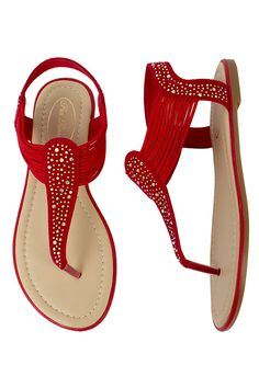 Pia Rossini Summer Cosmo Beach Sandals Red Diamante