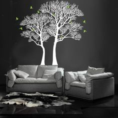 Nature twin tree wall decals designed by PopDecors.com