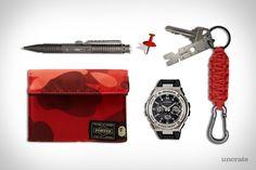 G-Shock G-Steel Watch ($280). A Bathing Ape x Porter Wallet ($179). Dsptch Key Chain ($26). UZI Aircraft Aluminum Tactical Pen ($17). Pintrill Push Pin ($12). Presented by G-Shock....