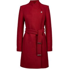 See this and similar coats - Carolina Cavour Ladies Textured Woollen Winter Coat With Printed Lining And Belt, V Neck Collar And Multiple Pockets Detail. Wool C...
