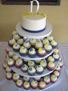 Yellow Blue Wedding Cupcake Tower Www Facebook Blissbakerycakery