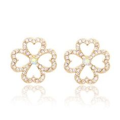 18k Yellow Gold Plated Swarovski Crystal Four Leaf Clover Stud Earrings