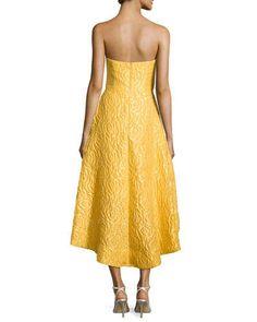 T9TV2 ML Monique Lhuillier Strapless High-Low Cocktail Dress, Sun