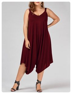 f8cd5f56f59bbe Plus Size V Neck Baggy Capri Jumpsuit (Wine red)