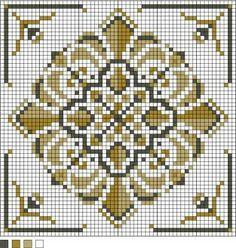 Vintage square motif needlepoint pattern