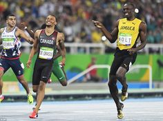 The sprinters were clearly enjoying themselves during the semifinal heat, saving their game faces for Thursday's final