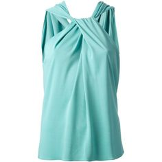 Lanvin Twisted Sleeveless Top ($407) ❤ liked on Polyvore featuring tops, shirts, blouses, blusas, tank tops, green, blue top, no sleeve shirts, sleeveless tank tops and sleeveless tops