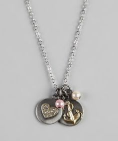 Take a look at this Silver Heart & Anchor Charm Necklace by Sugar & Vine on #zulily today!