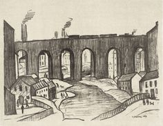 LS Lowry Framed Print – The Viaduct Stockport Lithograph (Picture Painting Art) Salford, Claude Monet, Vincent Van Gogh, Artist Birthday, Types Of Drawing, Train Art, English Artists, Famous Artists, British Artists