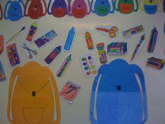 School supplies wall display and craft. Good for vocabulary development, hand-eye coordination, creative development.