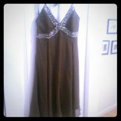 NWT BCBG MaxAzria Brown flouncy dress Beautifully beaded, never worn, uneven hemline BCBGMaxAzria Dresses
